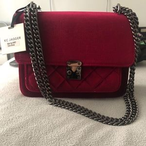 KC Jagger Velveted Quilted Chain Crossbody